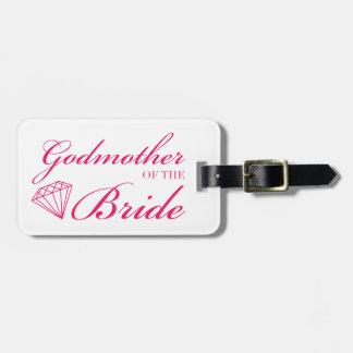 Diamond Godmother of Bride Pink Bag Tag