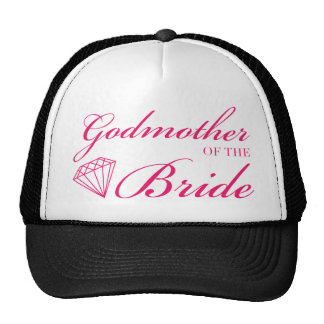 Diamond Godmother of Bride Pink Mesh Hat