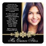 Diamond Gold Black and Gold Photo Quinceanera 13 Cm X 13 Cm Square Invitation Card