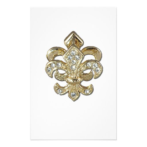 Diamond gold Fleur De Lis New Orleans Personalized Stationery