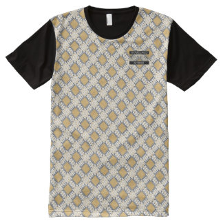 Diamond Gold Polka Dots Designer Modern T-Shirt All-Over Print T-Shirt