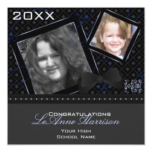 Diamond Graduation Invitation (Black And Blue) 13cm X 13cm Square Invitation Card