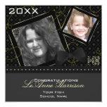 Diamond Graduation Invitation (Black And Yellow) 13 Cm X 13 Cm Square Invitation Card