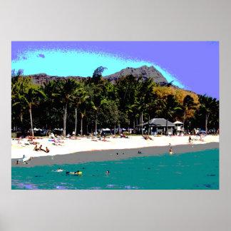 Diamond Head and Beach in Waikiki Poster Print
