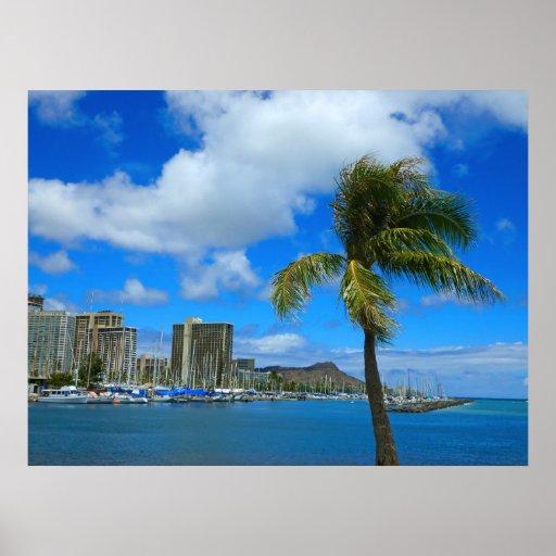 Diamond Head and Waikiki, Hawaii Posters