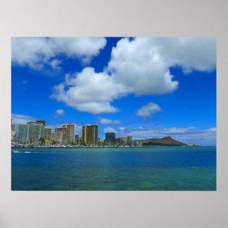 Diamond Head and Waikiki, Hawaii Poster