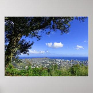 Diamond Head and Waikiki Poster