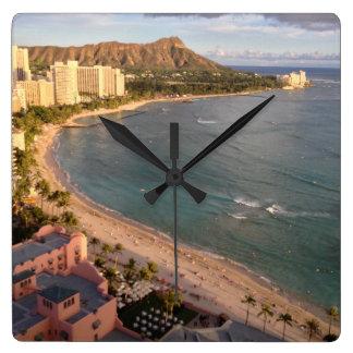 Diamond Head, Waikiki Beach, Hawaii Square Wall Clock