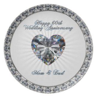 Diamond Heart 60th Anniversary Melamine Plate