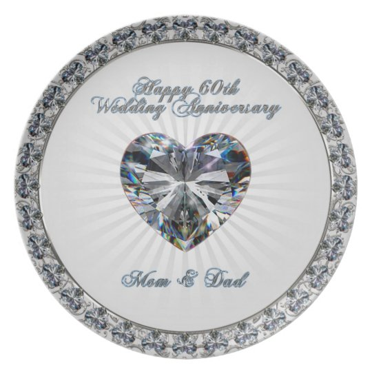 Diamond Heart 60th Anniversary Melamine Plate
