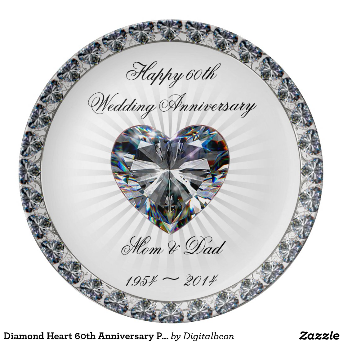 Diamond Heart 60th Anniversary Porcelain Plate