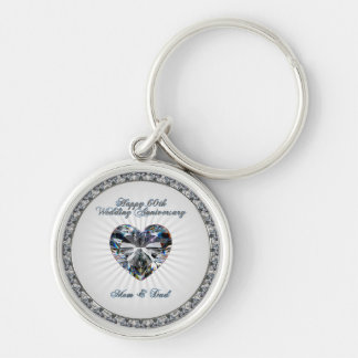 Diamond Heart 60th Wedding Anniversary Key Chain