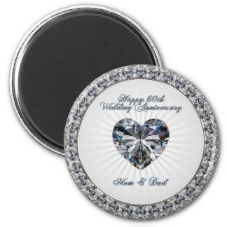 Diamond Heart 60th Wedding Anniversary Magnet