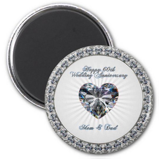 Diamond Heart 60th Wedding Anniversary Magnet