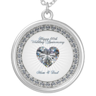 Diamond Heart 60th Wedding Anniversary Necklace