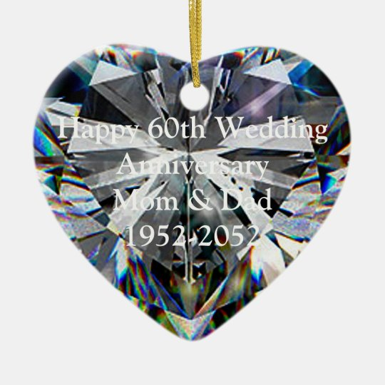 Diamond Heart 60th Wedding Anniversary Ornament