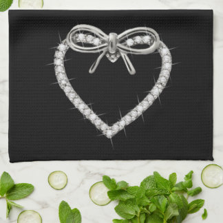 Diamond Heart And Bow Kitchen Towel