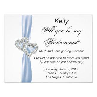 Diamond Heart Blue Wedding Bridesmaid Card