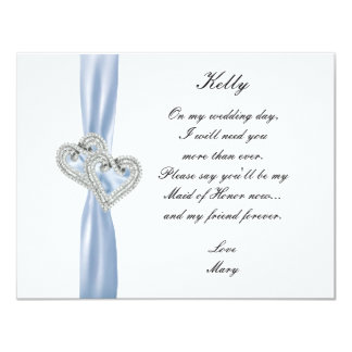 Diamond Heart Blue Wedding Maid Of Honor Card