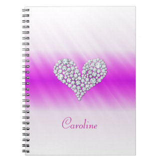 Diamond Heart Girly Notebook