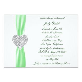 Diamond Heart Green Wedding Bridal Shower Invite