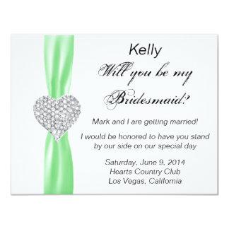 Diamond Heart Green Wedding Bridesmaid Card 11 Cm X 14 Cm Invitation Card