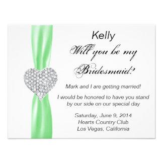 Diamond Heart Green Wedding Bridesmaid Card