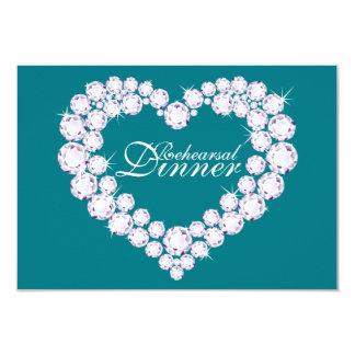 Diamond heart mono wedding rehearsal dinner invite