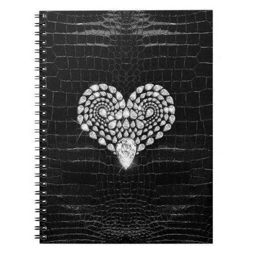 Diamond Heart Spiral Notebooks