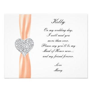 Diamond Heart Orange Wedding Maid Of Honor Card