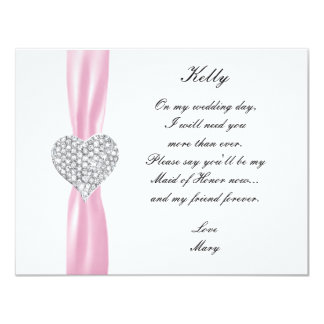 Diamond Heart Pink Wedding Maid Of Honor Card 11 Cm X 14 Cm Invitation Card