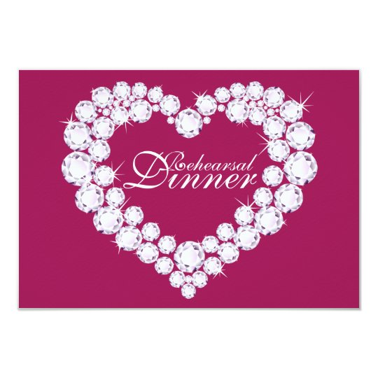Diamond heart pink wedding rehearsal dinner invite