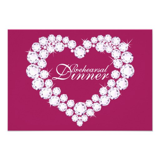 Diamond heart pink wedding rehearsal dinner invite
