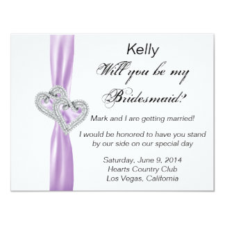 Diamond Heart Purple Wedding Bridesmaid Card 11 Cm X 14 Cm Invitation Card