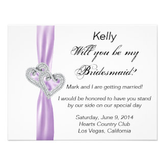 Diamond Heart Purple Wedding Bridesmaid Card