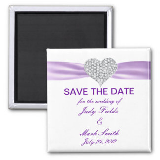 Diamond Heart Purple Wedding Save The Date Magnet