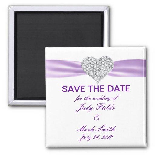 Diamond Heart Purple Wedding Save The Date Magnet