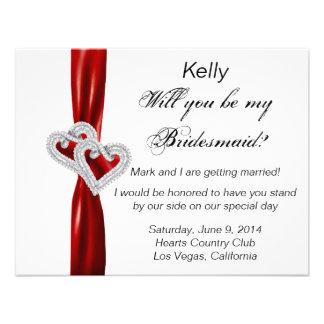Diamond Heart Red Wedding Bridesmaid Card