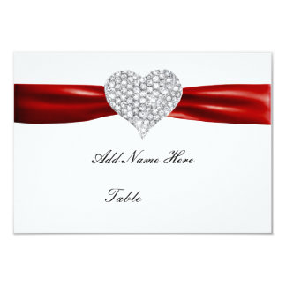 "Diamond Heart Red Wedding Table Place Card 3.5"" X 5"" Invitation Card"