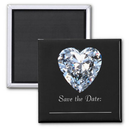 Diamond Heart  - Save the Date Fridge Magnets