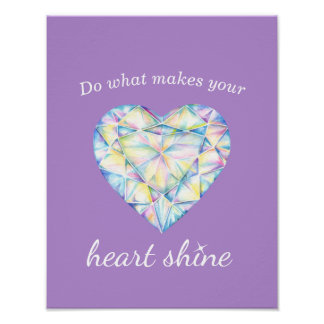 Diamond heart shine slogan purple art poster