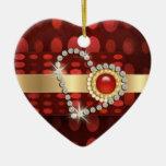 Diamond heart sparkling aqua gems ceramic heart decoration