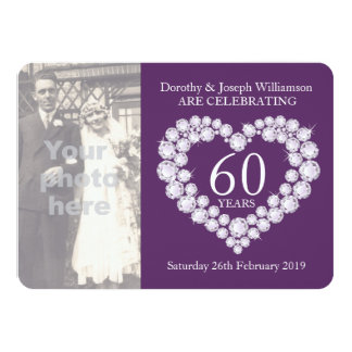 Diamond heart wedding photo 60 years party invite