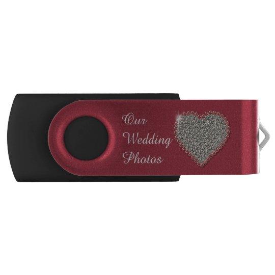 Diamond Heart Wedding Photos Swivel USB Drive