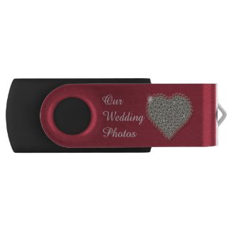 Diamond Heart Wedding Photos Swivel USB Drive