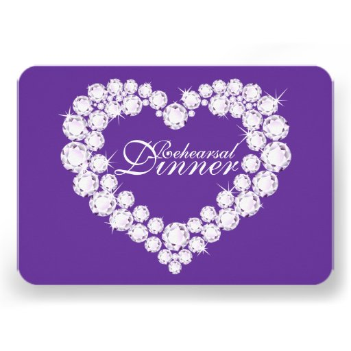 Diamond heart wedding rehearsal dinner invite