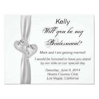 Diamond Heart White Wedding Bridesmaid Card 11 Cm X 14 Cm Invitation Card