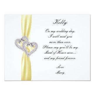 Diamond Heart Yellow Wedding Maid Of Honor Card 11 Cm X 14 Cm Invitation Card