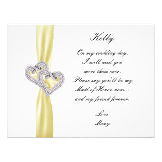 Diamond Heart Yellow Wedding Maid Of Honor Card