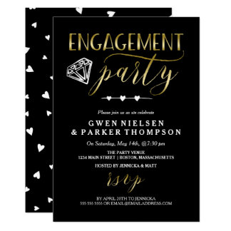 Diamond & Hearts | Black & Gold Engagement Party Card